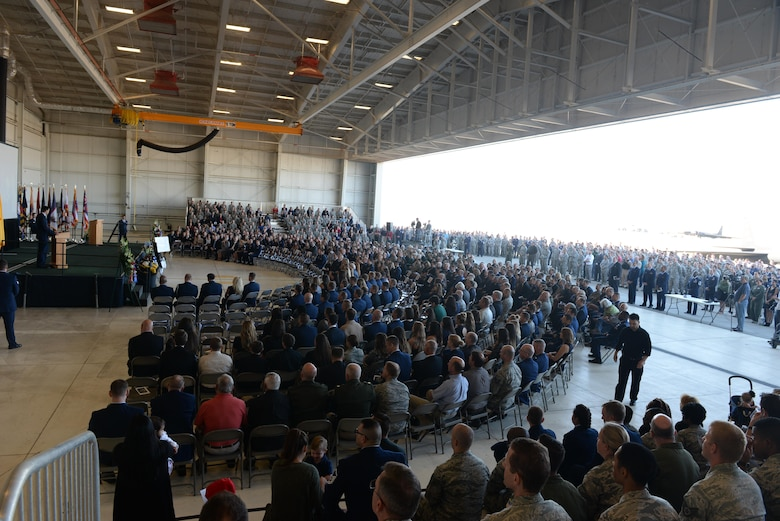 "Hundreds of attendees gather for a memorial service for Lt. Col. Steve ""Shooter"" Eadie, Sept. 29, 2016, at Beale Air Force Base, California. Eadie was assigned to the 1st Reconnaissance Squadron and served as a U-2 instructor pilot. He is survived by his wife Ashley, and their six children. (U.S. Air Force photo/Staff Sgt. Bobby Cummings)"