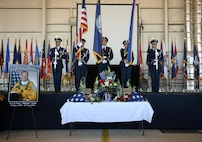 """Beale Air Force Base Honor Guard present the colors during a memorial service for Lt. Col. Steve """"Shooter"""" Eadie, Sept. 29, 2016, at Beale Air Force Base, California. Eadie was killed Sept. 20, 2016, when a U-2 Dragon Lady he was piloting crashed in the Sutter Buttes mountain range. (U.S. Air Force photo/Staff Sgt. Bobby Cummings)"""