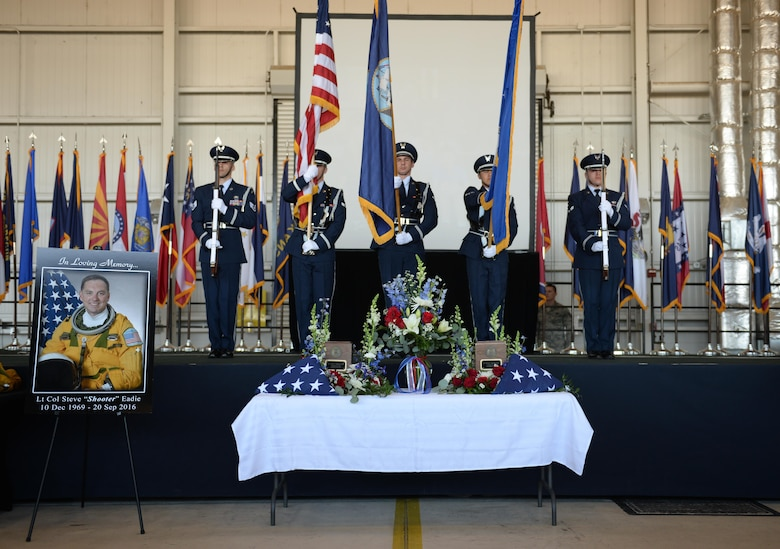 "Beale Air Force Base Honor Guard present the colors during a memorial service for Lt. Col. Steve ""Shooter"" Eadie, Sept. 29, 2016, at Beale Air Force Base, California. Eadie was killed Sept. 20, 2016, when a U-2 Dragon Lady he was piloting crashed in the Sutter Buttes mountain range. (U.S. Air Force photo/Staff Sgt. Bobby Cummings)"