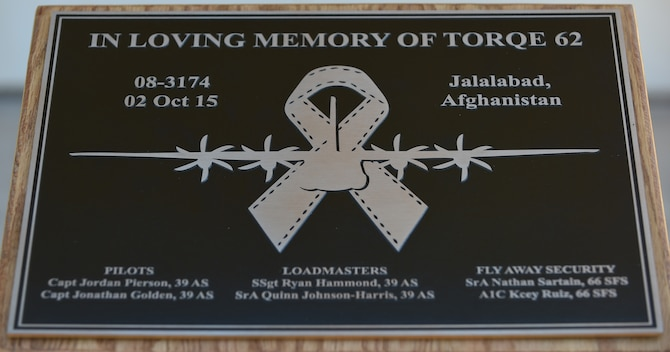 A plaque memorializing the Airmen of TORQE 62 was unveiled at Dyess Air Force Base, Texas, Sept. 30, 2016. The plaque is scheduled to be added to the Dyess Memorial Park upon its completion. (U.S. Air Force photo by Airman 1st Class Quay Drawdy)