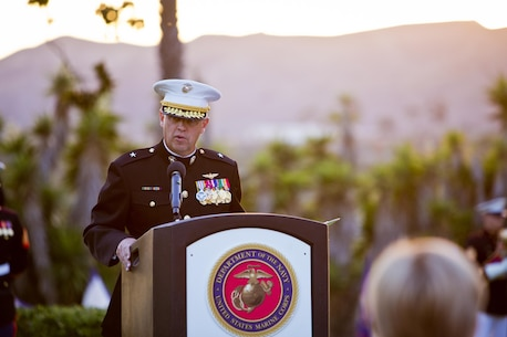 U. S. Marine Corps Brig. Gen. Kevin J. Killea, commanding general, Marine Corps Installations West, Marine Corps Base Camp Pendleton, addresses the audience during the commanding general's evening colors ceremony at the historic Santa Margarita Ranch House on Camp Pendleton, Calif., Sept. 28, 2016. (U.S. Marine Corps photo by Sgt. Tabitha A. Markovich)