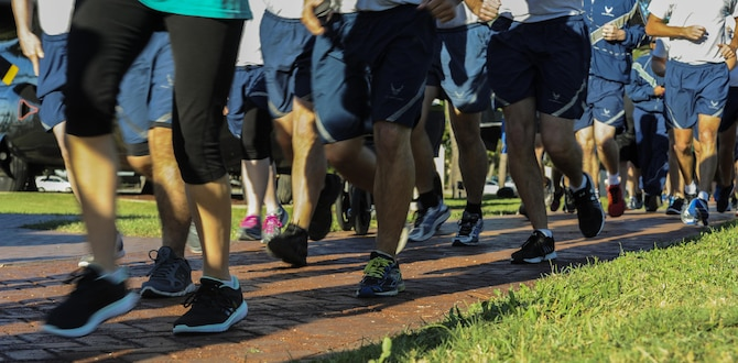 Air Commandos begin the Green Dot 5K run at Hurlburt Field, Fla., Sept. 30, 2016. The Green Dot 5k run was used to raise awareness about interpersonal violence within relationships and the workplace. (U.S. Air Force photo by Airman 1st Class Isaac O. Guest IV)