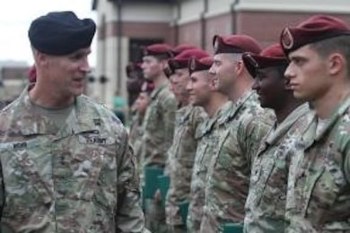 MG Wehr meets deserving Paratroopers during the 307th JRTC BN Award Ceremony on 22 September 2016 at Fort Bragg, NC, to include speaking at the Waal Crossing Wreath laying ceremony, commemorating WWII actions during Operation Market Garden.