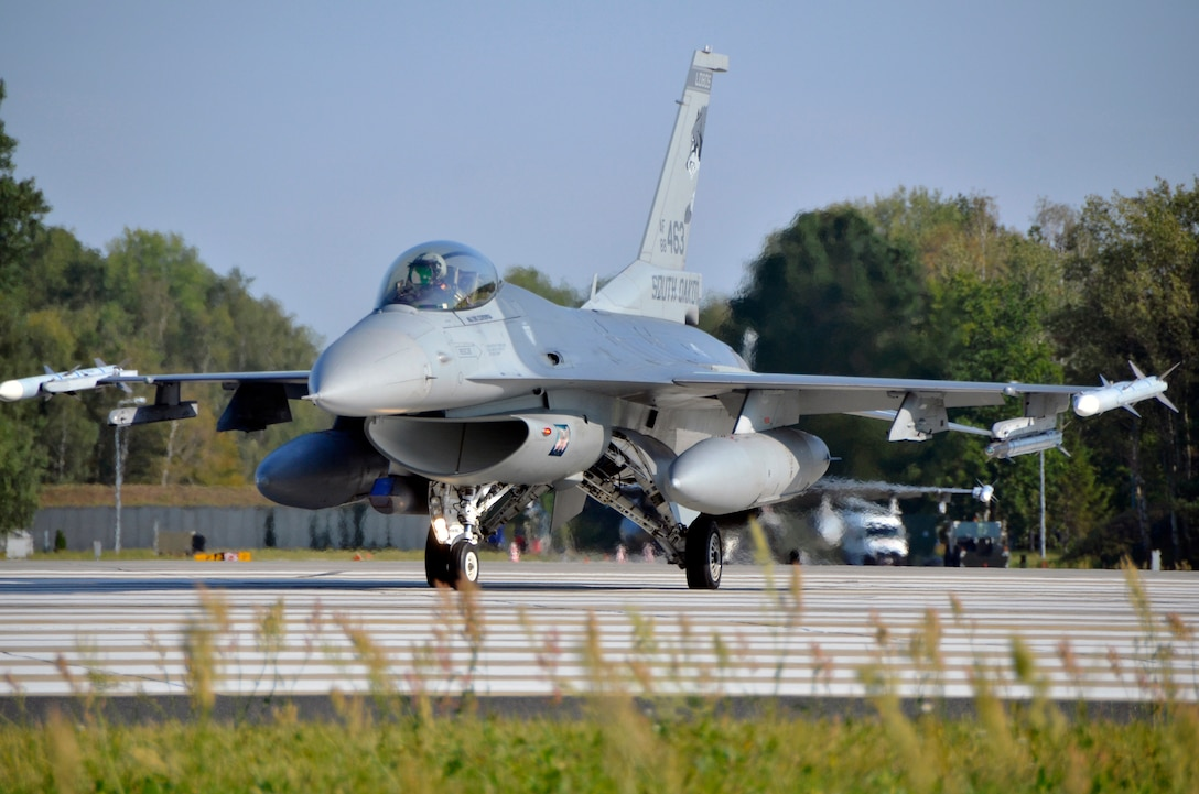 An F-16 Fighting Falcon from the South Dakota Air National Guard prepares for take-off at Lask Air Base, Poland, Sept. 19, 2016. The 114th Fighter Wing deployed more than 100 personnel in support of Aviation Detachment 16-4, a bilateral training exercise between the U.S. and Polish forces. The 114 FW was able to train alongside Polish allies in a variety of missions to include, close air support, air to air and air to ground. (U.S. Air National Guard photo by Capt. Amy Rittberger)