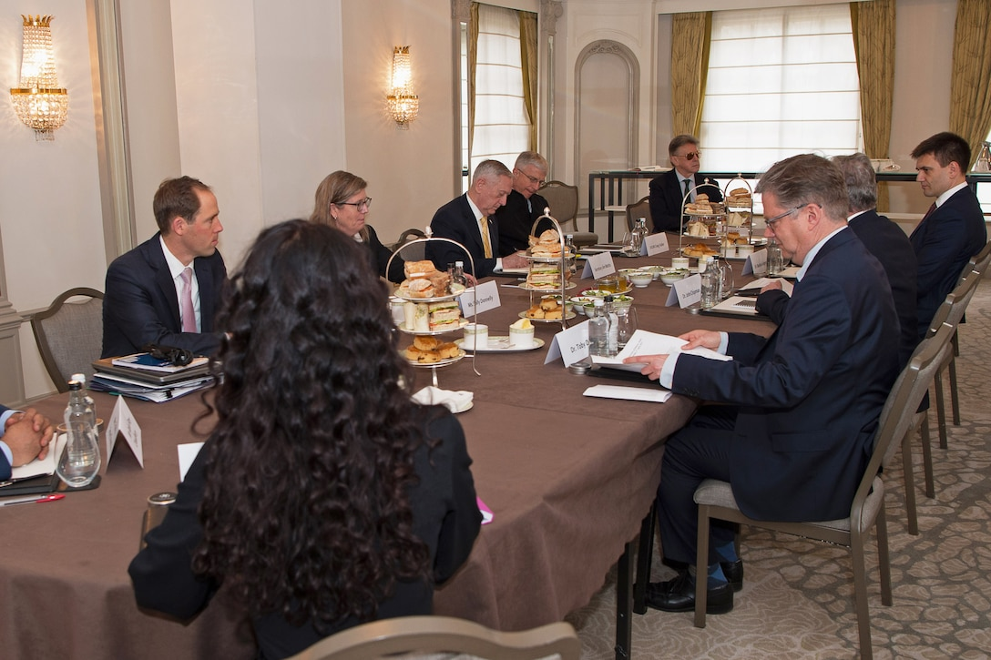 Defense Secretary Jim Mattis speaks with members of the International Institute for Strategic Studies.