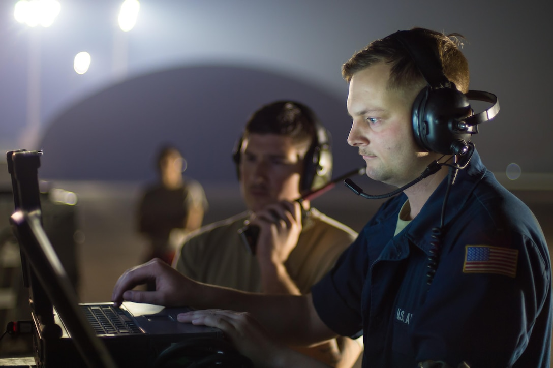 Members of the 380th Expeditionary Maintenance Squadron complete pre-flight checks on an EQ-4 Global Hawk equipped with a battlefield airborne communications node at an undisclosed location in Southwest Asia, March 31, 2017. This launch marked 1000 consecutive sorties without a maintenance cancel while supporting Combined Joint Task Force-Operation Inherent Resolve. These remotely piloted aircraft have provided a critical communication bridge between multi-national Coalition assets working to defeat ISIS in the area of responsibility. (U.S. Air Force/Senior Airman Tyler Woodward)