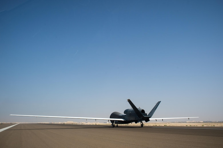 A 380th Air Expeditionary Wing EQ-4 Global Hawk, equipped with a battlefield airborne communications node, prepares to land after completing a sortie in support of Combined Joint Task Force-Operation Inherent Resolve at an undisclosed location in Southwest Asia, April 1, 2017. The successful completion of this sortie marked 1000 in a row for the BACN Global Hawks. (U.S. Air Force/Senior Airman Tyler Woodward)