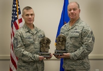 Congratulations to new-Chief Master Sgt. William Piggott and Michael Wieckowski.  The two Airmen officially received their Chief's bust at a ceremony April 1 at Duke Field, Fla.  Piggott is in the 919th Special Operations Maintenance Squadron.  Wieckowski is a 919th Special Operations Civil Engineer Squadron member.  (U.S. Air Force photo/1st Lt. Monique Roux)
