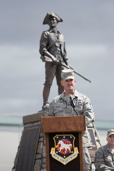 Chief Master Sgt. David Stevens, incoming command chief for the 167th Airlift Wing, speaks at the change of responsibility ceremony , April 1. Stevens is replacing outgoing Command Chief Master Sgt. Ronald R. Glazer, Sr., who served as the wing command chief since 2012. (U.S. Air National Guard photo by Emily Beightol-Deyerle)