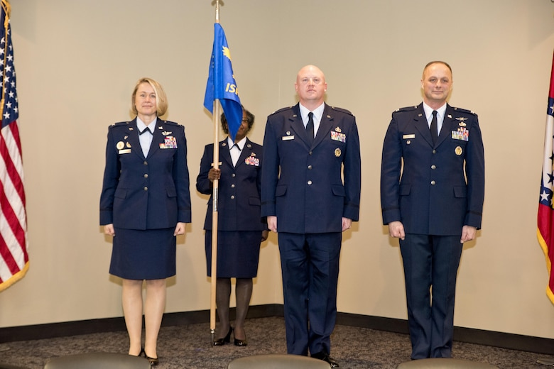 From left, Col. Bobbi J. Doorenbos, 188th Wing commander, Col. Stanley L. Stefancic III and Col. Robert I. Kinney stand following Stefancic's assumption of command of the 188th Intelligence, Surveillance and Reconnaissance Group March 1, 2017 at Ebbing Air National Guard Base, Fort Smith, Ark. Stefancic assumed command from Kinney,  who was commander of the ISRG for almost three years.  (U.S. Air National Guard photo by Senior Airman Matthew Matlock)