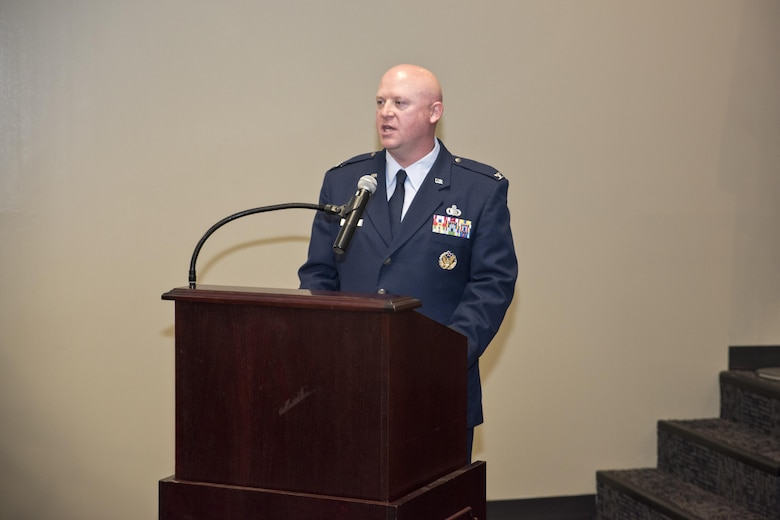 Col. Stanley L. Stefancic III speaks during the 188th Intelligence, Surveillance and Reconnaissance Group change of command ceremony March 1, 2017 at Ebbing Air National Guard Base, Fort Smith, Ark. Stefancic spoke about the ISRG's past and future and how the two missions would move to the next level.  (U.S. Air National Guard photo by Senior Airman Matthew Matlock)