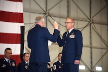 SIOUX FALLS, S.D. - Brig. Gen. Steven Warren, Assistant Adjutant General for Air, HQ SDANG, administered the oath of office to Brig. Gen. Joel DeGroot, during a transfer of authority ceremony at Joe Foss Field April 1st.  DeGroot previously served as the 114TH Maintenance group commander.  (U.S. Air National Guard photo by Staff Sgt. Duane Duimstra/Released)