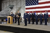 SIOUX FALLS, S.D. - Maj. Gen. Timothy A. Reisch, Adjutant General for South Dakota, presented a ceremonial retirement flag to Brig. Gen. Steven C. Warren, former Assistant Adjutant General for Air, during his retirement ceremony at Joe Foss Field, S.D., April 1.  Warren leaves the South Dakota Air National Guard with over 40 years of military service. (U.S. Air National Guard photo by Technical Sgt. Luke Olson/Released)