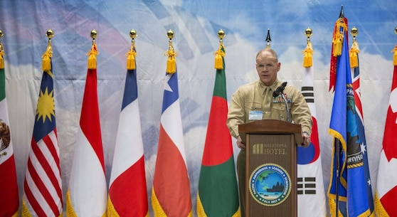 Commandant of the Marine Corps Gen. Robert B. Neller speaks at the Pacific Amphibious Leaders Symposium (PALS) 2017, Seoul, South Korea, April 1, 2017. PALS is held annually to help strengthen relationships between allied Marine and Naval forces. (U.S. Marine Corps photo by Cpl. Samantha K. Braun)