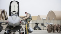 Lt. Col. Craig Andrle, 79th Expeditionary Fighter Squadron commander, climbs down from an F-16 Fighting Falcon as members of the 79th EFS wait to congratulate him on flying his 1,000th combat hour March 20, 2017 at Bagram Airfield, Afghanistan. Andrle reached the milestone while supporting the wing's counterterrorism mission in Afghanistan. (U.S. Air Force photo by Staff Sgt. Katherine Spessa)