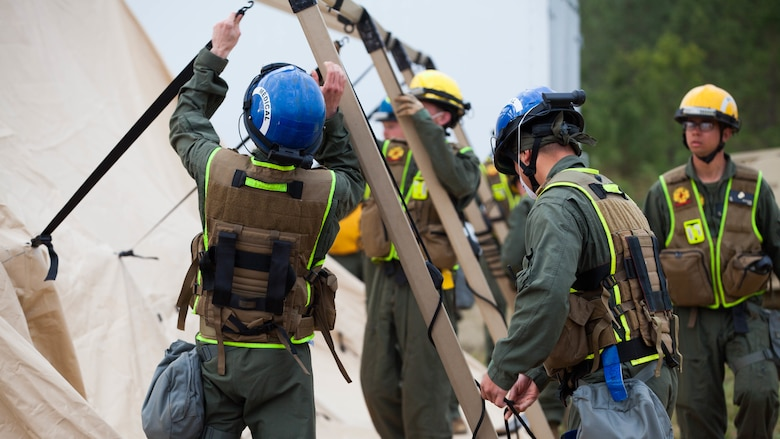 Marines and sailors with Chemical Biological Incident Response Force set up medical facilities at Guardian Centers in Perry, Georgia, March 23, 2017 during Exercise Scarlet Response 2017.  During a 36-hour field operation, the Marines with CBIRF had to safely extract victims from a collapsed building in the aftermath of a simulated disaster. The field operation is the final event of the exercise.