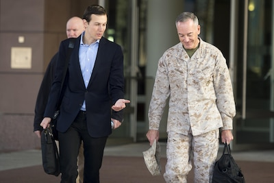 Jared Kushner, left, senior advisor to President Donald J. Trump, speaks with Marine Corps Gen. Joe Dunford, the chairman of the Joint Chiefs of Staff, before leaving Ramstein Air Base, Germany, en route to Baghdad, April 3, 2017. DoD photo by Navy Petty Officer 2nd Class Dominique A. Pineiro