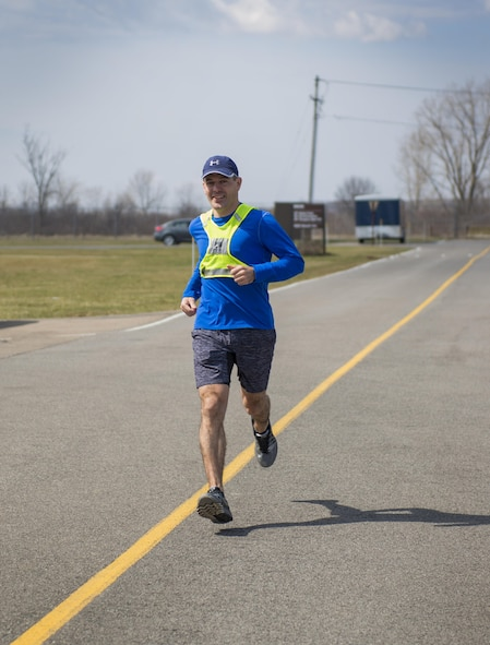 Tech. Sgt. David Dixon, 914th Force Support Squadron training specialist, runs in preparation for the Boston Marathon April 2, 2017 at the Niagara Falls Air Reserve Station, N.Y. Dixon started running 3 years ago as a way to improve his physical health. Having become passionate about it, he made it a goal to qualify for the Boston Marathon which he will be running later this month.  (U.S. Air Force photo by Tech. Sgt. Stephanie Sawyer)