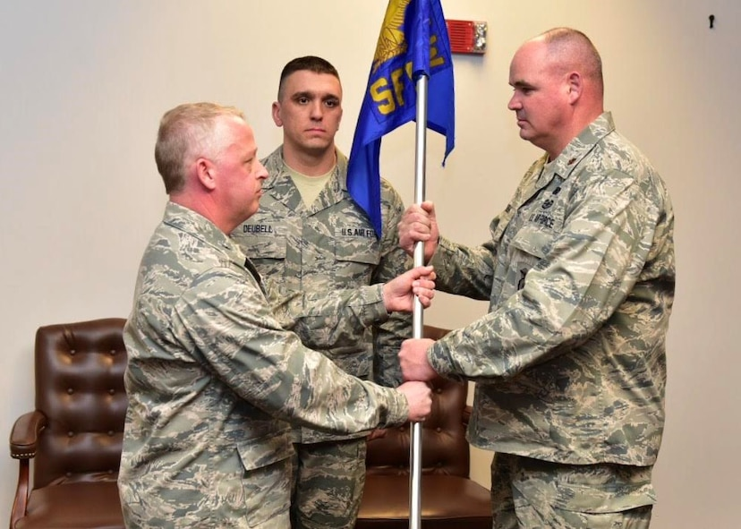 Maj. William M. Gourlay assumes command of the 914th Security Forces Squadron from 914th Mission Support Group commander Col. Patrick L. Erdman April 2, 2017 Niagara Falls Air Reserve Station, N.Y.  Maj. Gourlay previously served as the 914 SFS operations officer.  (U.S. Air Force photo by Staff Sgt. Richard Mekkri)