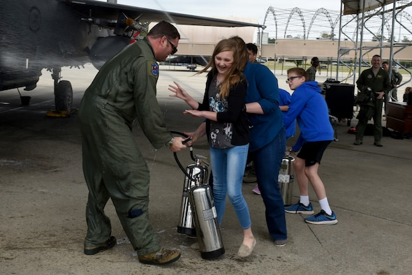Lt. Col. Stephen Taylor, 334th Fighter Squadron assistant director of operations, receives the traditional 
