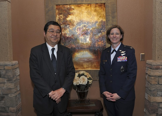 Consul-General of Japan Hiroto Hirakoba poses with Col. Dawn Nickell, 377th Air Base Wing vice commander, during the Consul-General of Japan lunch reception at the Mountain View Club on Kirtland Air Force Base March 31. Hirakoba offered praise and thanks to personnel during the event for helping strengthen the joint forces relationship between the United States and Japan.