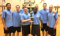 The 3rd Flying Training Squadron basketball team defeated the 71st Operations Support Squadron, 60-45, to take the base championship March 30 in the Bradley Fitness Center on base. The winning team: holding trophy from left, 1st Lt. Kyle Parker and Airman 1st Class Tre Quez Grundy; back row from left, Capt. Daniel Pickett, Maj. Jason Jones, Maj. Cullen Vetter, Capt. Kyle Williams, Maj. Jacob Bergmann and Capt. Robert Rogers. (Courtesy photo)