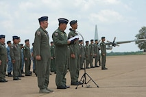 Exercise directors for Cope Tiger 17 participate in the closing ceremony at Korat Royal Thai Air Force Base, Thailand, March 31, 2017. The annual multilateral exercise is aimed at improving combined combat readiness and interoperability between the Republic of Singapore air force, Royal Thai air force, and U.S. Air Force, while concurrently enhancing the three nations' military relations.  (U.S. Air Force photo by Staff Sgt. Kamaile Chan)