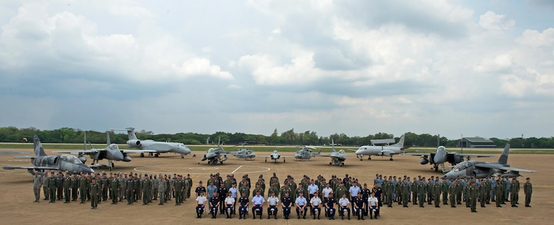 Cope Tiger 17 (CT17) participants during the closing ceremony for Cope Tiger 17 at Korat Royal Thai Air Force Base, Thailand, March 31, 2017. More than 1,200 U.S., Thai and Singaporean military members participated in CT17. The annual multilateral exercise is aimed at improving combined combat readiness and interoperability between the Republic of Singapore air force, Royal Thai air force, and U.S. Air Force, while concurrently enhancing the three nations' military relations.  (U.S. Air Force photo by Staff Sgt. Kamaile Chan)