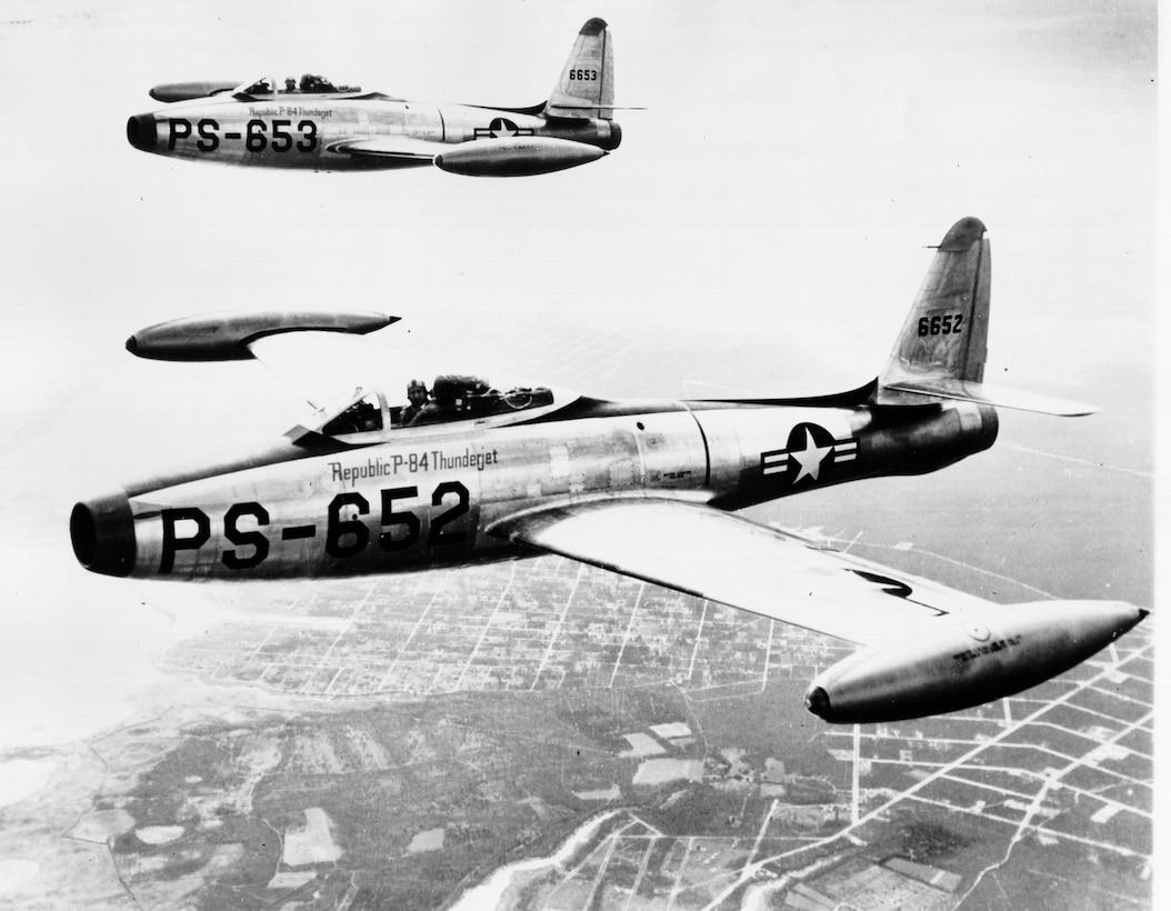 Republic P-84 Thunderjet aircraft in flight. (Courtesy photo)
