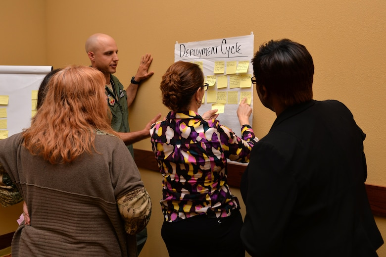 Air Commandos and family members brainstorm solutions related to topics such as high operations tempo, work-life balance and support for military families during an open session forum as part of a Chief of Staff of the Air Force focus group at Hurlburt Field, Fla., March 29, 2017. This open session forum was part of a series of field visits to installations across the Air Force for the Chief of Staff of the Air Force Focus Area #1 effort, Revitalizing Air Force Squadrons, to build better squadrons, Airmen and warfighting capabilities. (U.S. Air Force photo by 2nd Lt. Kayshel Trudell)