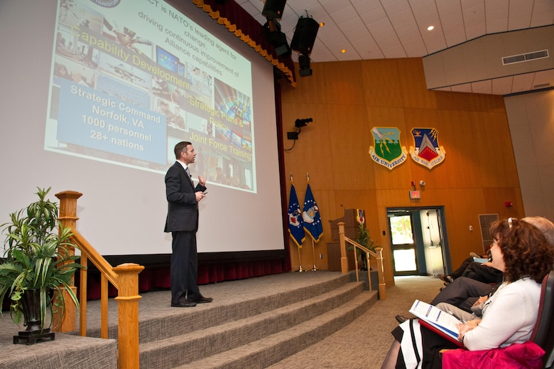 Serge Da Deppo, North Atlantic Treaty Organization Transformation Command, Future Solutions Branch, discusses NATO's online worldwide cross cultural expert network during the second annual Air University Language, Regional Expertise and Culture Symposium on Maxwell Air Force Base, Ala., March 29th, 2017. Member nations currently use the network to improve cultural understanding of regions they will be deployed by having moderators in one location to conduct online videoconferences with groups from two different nations. (US Air Force photo by Melanie Rodgers Cox/Released)