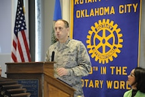 Lt. Gen. Lee K. Levy II, Air Force Sustainment Center commander, speaks to the Rotary Club of Oklahoma City at their monthly luncheon March 14, 2017, Oklahoma City, Oklahoma. The general spoke about the importance of the support the AFSC and Team Tinker receive from the community while detailing the maintenance missions conducted at Tinker. (U.S. Air Force photo/Greg L. Davis)