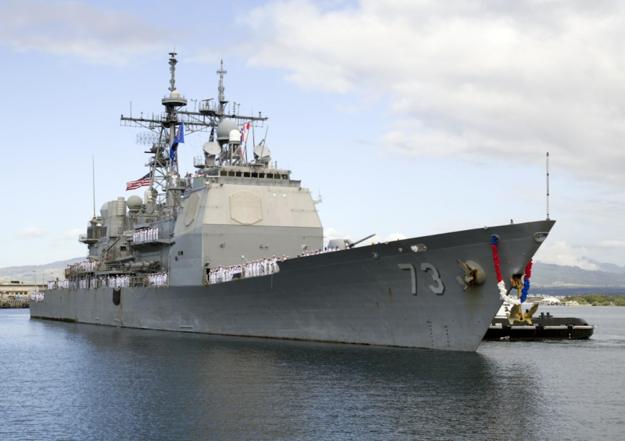 The guided-missile cruiser USS Port Royal returns to its homeport at Pearl Harbor in Hawaii, March 24, 2017. The Port Royal had completed a 212-day deployment to the Arabian Sea, the Arabian Gulf, the Gulf of Oman, the Red Sea, the Gulf of Aden, the South China Sea, the Western Pacific and the Indian Ocean. Navy photo by Petty Officer 2nd Class Jeff Troutman