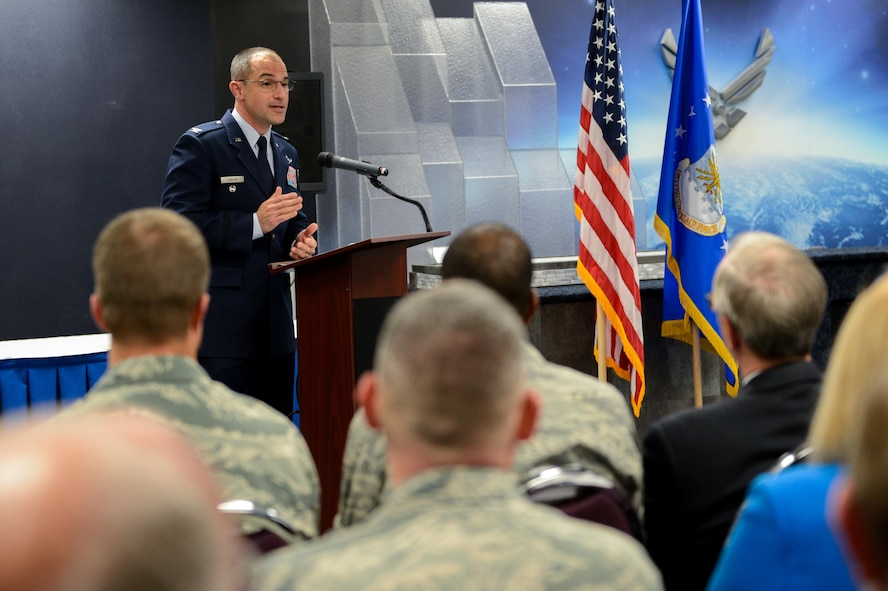 Col. Mark Jablow, Air Force Command, Control and Communications Center commander, speaks to guests during an activation of command ceremony at Barksdale Air Force Base, La., April 3, 2017. The U.S. Air Force Nuclear Command, Control and Communication Center streamlines the management of approximately 62 different systems and forms a single NC3 point of contact and advocate for the entire Air Force. (U.S. Air Force Photo/Senior Airman Mozer O. Da Cunha)