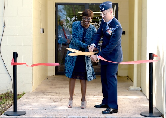 Col. Mark Jablow, the Air Force Command, Control and Communications Center commander and Ollie Tyler, the Shreveport mayor, cut the inauguration ribbon as part of an activation of command ceremony at Barksdale Air Force Base, La., April 3, 2017. The U.S. Air Force Nuclear Command, Control and Communication Center streamlines the management of approximately 62 different systems and forms a single NC3 point of contact and advocate for the entire Air Force. (U.S. Air Force Photo/Senior Airman Mozer O. Da Cunha)