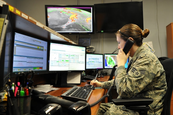 Senior Airman Jennifer Smith, 9th Operations Support Squadron weather technician, keeps the flightline updated on current weather conditions at Beale Air Force Base, California, March 24, 2017. In order to keep the mission going, Beale's weather flight provides accurate and timely weather information to pilots. (U.S. Air Force photo/Airman 1st  Class Douglas P. Lorance)