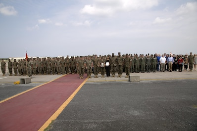 MCAS FUTENMA, OKINAWA, Japan— Headquarters and Headquarters Squadron poses for a group photo March 29 after an award ceremony on Marine Corps Air Station Futenma. During the ceremony, Headquarters and Headquarters Squadron received the 2016 National Defense Transportation Association Military Unit of the Year Award for their outstanding service in the field of transportation and logistics. H&HS went head-to-head against the other branches of service for this award and came out on top.  (U.S. Marine Corps photo by Cpl. Jessica Collins)