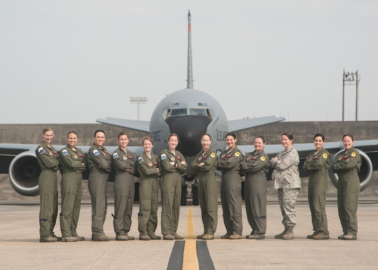 U.S. Air Force aircrew members from the 909th Air Refueling Squadron stand in front of a KC-135 Stratotanker March 30, 2017, at Kadena Air Base, Japan. The 909th ARS has one of the largest all female aircrews in the Air Force with a total of 13 active members.(U.S. Air Force photo by Airman 1st Class Quay Drawdy/Released)