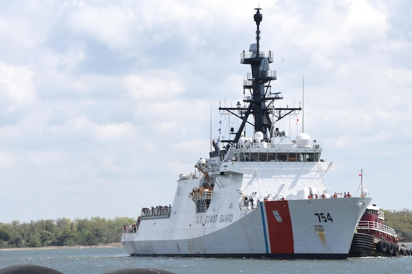 The Coast Guard Cutter James transits toward the pier at the Federal Law Enforcement Training Center in Charleston, South Carolina, March 31, 2017. James' crew returned home following a 60-day patrol where they contributed to the interdiction of 12 drug-smuggling vessels, detainment and subsequent arrest of 22 suspected drug smugglers and were responsible for the seizure of more than five tons of cocaine bound for the United States.  (U.S. Coast Guard photo by Petty Officer 1st Class Melissa Leake/Released)