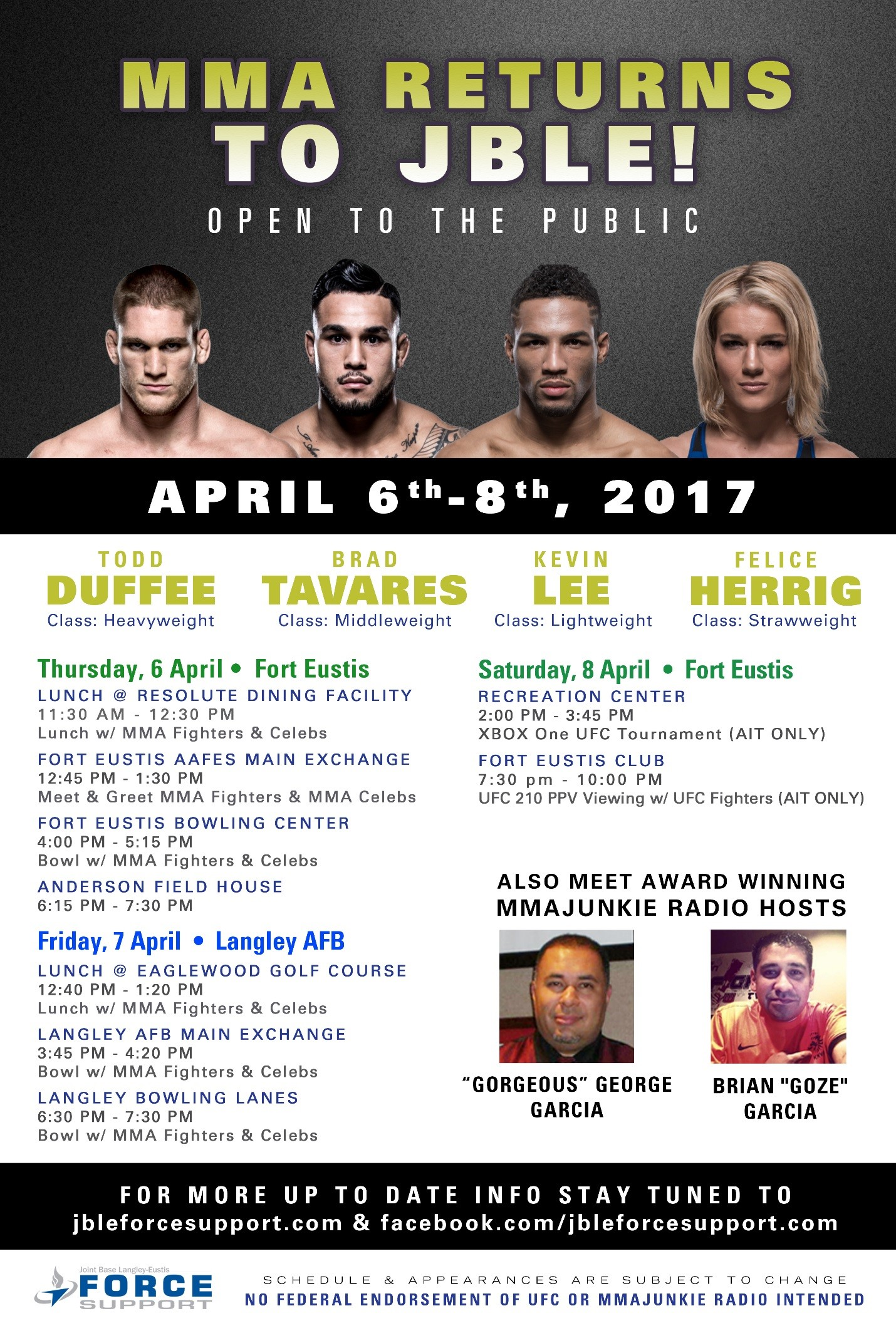 Ufc Athletes Mma Notables Return To Jble Joint Base Langley