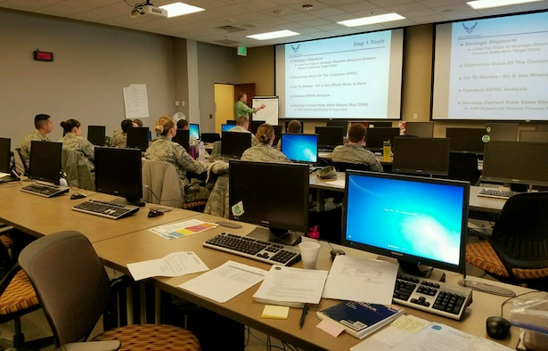 Airmen attend the Practical Problem Solving Method course January 31, 2017, in the installation Deployment Center at Ellsworth Air Force Base, S.D. The course is part of the Department of the Defense Continuous Process Improvement program, designed to teach individuals the ability to identify a problem and be able to resolve it together, working to continuously increase workplace efficiency. (Courtesy photo)