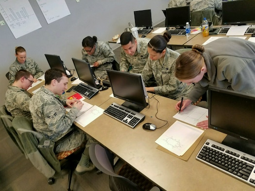 Airmen participate in a group exercise for a Continuous Process Improvement course in the installation deployment center at Ellsworth Air Force Base, S.D., January 31, 2017. CPI is the strategic refinement of the way servicemembers, Department of Defense civilian and contractors perform tasks to accomplish the Air Force mission. (Courtesy photo)