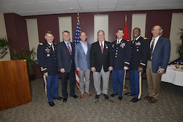 Nashville District commanders (Left to right) Col. John L. Hudson, National War College; U.S. Army, retired Col. Bernard R. Lindstrom; Col. James A. DeLapp, U.S. Army Corps of Engineers Mobile District commander; retiree Mike Wilson, U.S. Army Corps of Engineers Nashville District deputy for Programs and Project Management;  Lt. Col. Stephen F. Murphy, Nashville District commander; Col. Anthony P. Mitchell, St. Louis District commander and retired Colonel and U.S. Army Corps of Engineers Mobile District deputy for Programs and Project Management, Peter F. Taylor Jr.; pose together at Wilson's retirement at the Estes Kefauver Federal Building in Nashville, Tenn., March 31, 2017.