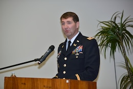 Lt. Col. Stephen Murphy, U.S. Army Corps of Engineers Nashville District commander, speaks about the federal serivce of Mike Wilson, Nashville District deputy district engineer for Project Management, during his retirement ceremony at the district headquarters in Nashville, Tenn., March 31, 2017. (USACE photo by Mark Rankin)