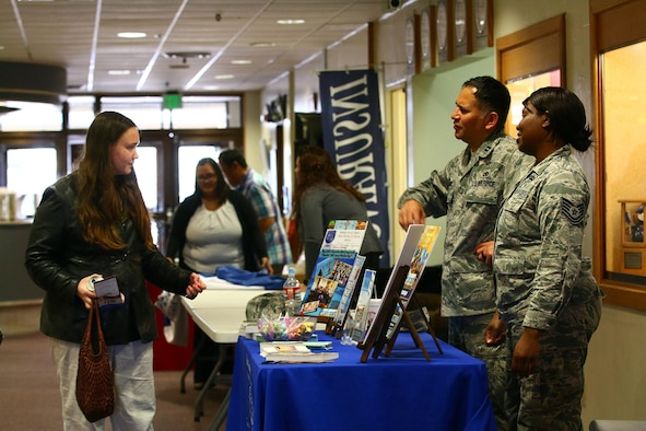 445th Airlift Wing Chaplain Corps Airmen Chaplain (Capt.) Job Morales and Tech. Sgt. Precious Sims, chaplain's assistant, brief incoming Airmen information about chaplain's support during the newcomers briefing at here March 14, 2017. The Chaplains as well as Airmen from the 445th Logistics Readiness Squadron trained and provided support during their annual tour here. (U.S. Air Force photo/Tech. Sgt. Patrick O'Reilly)
