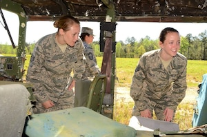 Technical Sgt. Jennifer Warren (left) and Staff Sgt. Kristen Schultz, 172d Airlift Wing, view the inside of a jeep that has been used for target practice at Camp Shelby Joint Forces Training Center's air to ground range. The Mississippi Air National Guardsmen were participating in the state's junior NCO orientation trip that enabled them to see the type of Air National Guard training that is conducted at the training site.