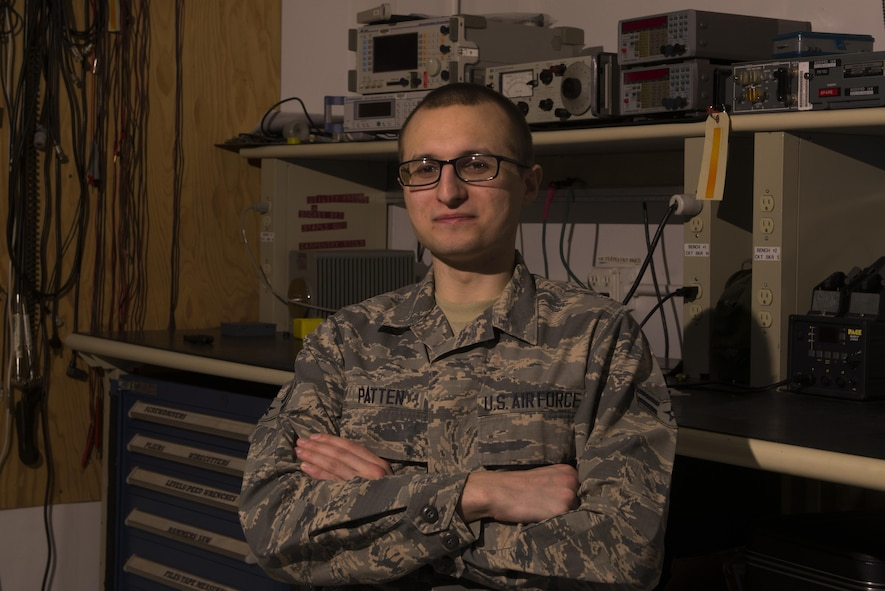 U.S. Air Force Airman 1st Class Ian Patten, a 354th Operations Squadron airfield systems technician, poses for a photo March 22, 2017, at Eielson Air Force Base, Alaska. Patten, originally from Cincinnati, Ohio, is stationed at Eielson where he installs, maintains, and upgrades air traffic control systems equipment. (U.S. Air Force photo by Airman Eric M. Fisher)