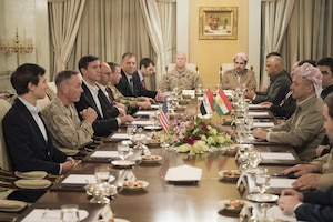 Marine Corps Gen. Joe Dunford, chairman of the Joint Chiefs of Staff; Jared Kushner, senior advisor to President Donald J. Trump; and Tom Bossert, homeland security advisor to the president, meet with Kurdistan Regional Government President Masoud Barzani, April 4, 2017, while on a trip to assess the health of the campaign against the Islamic State of Iraq and Syria. DoD photo by Navy Petty Officer 2nd Class Dominique A. Pineiro