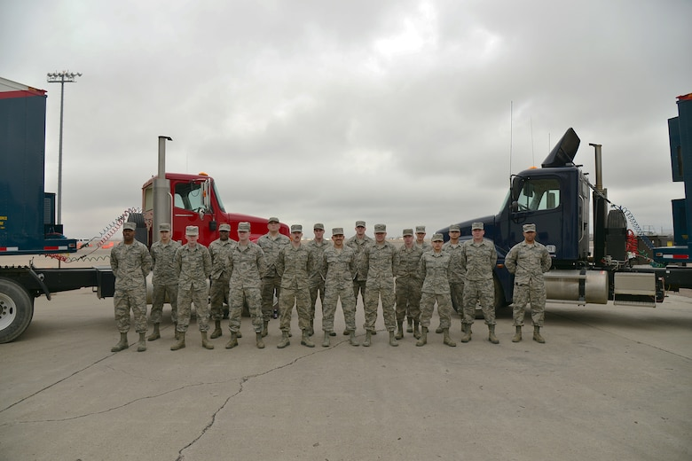 Airmen from the 341st Missile Maintenance Squadron Periodic Maintenance Team pose for a group photo March 29, 2016, at Malmstrom Air Force Base, Mont. The 341st MMXS PMT is one of many teams that contributed toward the 341st Maintenance Group 2016 Air Force Maintenance Effectiveness Award. (U.S. Air Force photo/Airman First Class Daniel Brosam)
