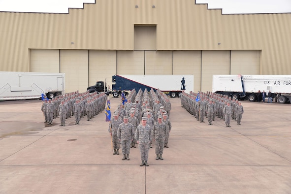Airmen from the 341st Maintenance Group stand in formation for a group photo March 3, 2017, at Malmstrom Air Force Base, Mont. The 341st MXG recently won the 2016 Air Force Maintenance Effectiveness Award. (U.S. Air Force photo/Airman First Class Daniel Brosam)